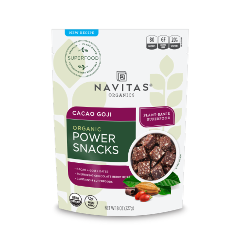 Navitas Naturals Cacao Goji Organic Power Snacks Perspective: front