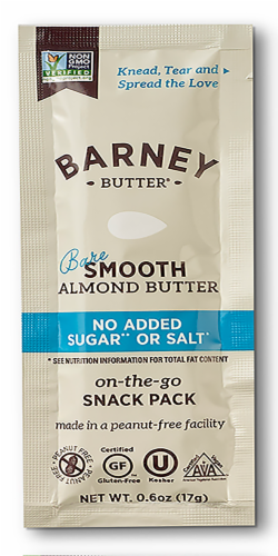 Barney Butter No Added Sugar or Salt Bare Smooth Almond Butter Snack Pack Perspective: front