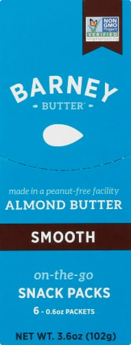 Barney Butter Smooth Almond Butter On-The-Go Snack Packs 6 Count Perspective: front