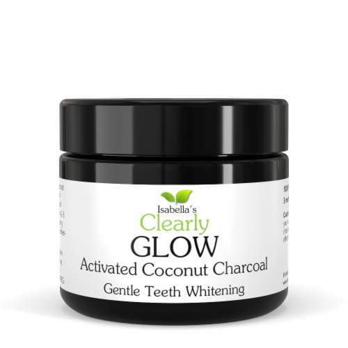 Clearly GLOW Coconut, Teeth Whitening Activated Coconut Charcoal Powder Perspective: front