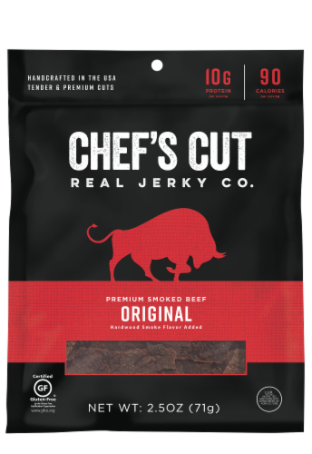 Chef's Cut Smoked Beef Original Recipe Jerky Perspective: front