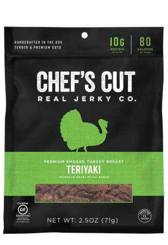 Chef's Cut Real Teriyaki Turkey Jerky Original Recipe Perspective: front