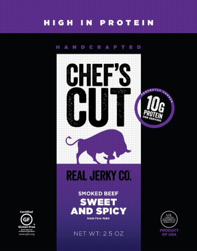 Chef's Cut Sweet and Spicy Steak Jerky Perspective: front