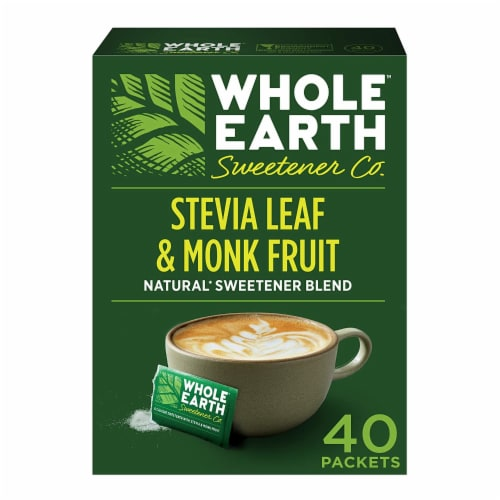 Whole Earth Sweetener Co Stevia Leaf & Monk Fruit Natural Sweetener Blend Packets Perspective: front