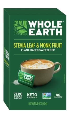Whole Earth Stevia Leaf & Monk Fruit Natural Sweetener Packets Perspective: front