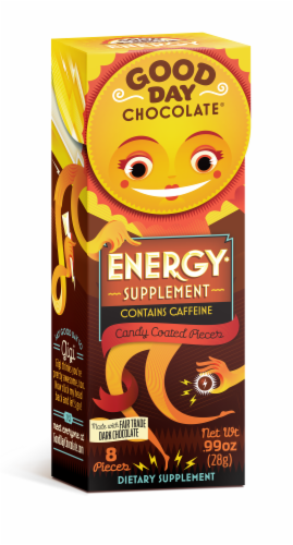 Good Day Chocolate Energy Supplement Candy Perspective: front
