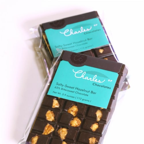 Charles Chocolates Salty-Sweet Hazelnut Bar Perspective: front