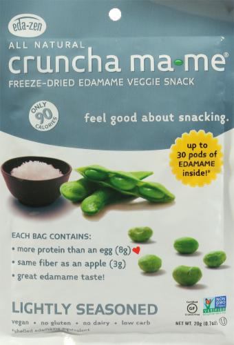 All Natural Cruncha Ma Me Freeze Dried Edamame Veggie Snack Perspective: front