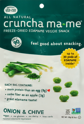 All Natural Cruncha Ma Me Onion & Chive Freeze Dried Edamame Veggie Snack Perspective: front
