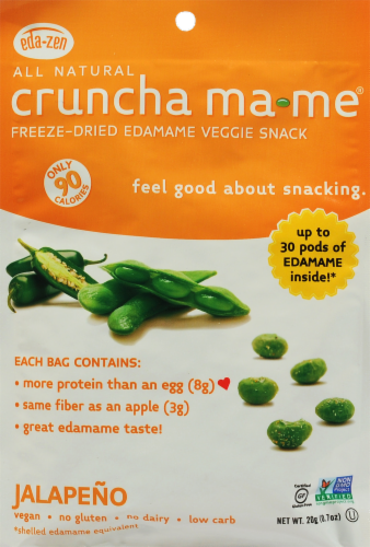 Eda-Zen All Natural Cruncha Ma-Me Jalapeno Freeze Dried Edamame Veggie Snack Perspective: front