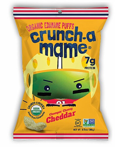 Eda-Zen  Crunch-a-Mame® Organic Edamame Puffs Gluten Free   Chompin' Cheesy Cheddar Perspective: front