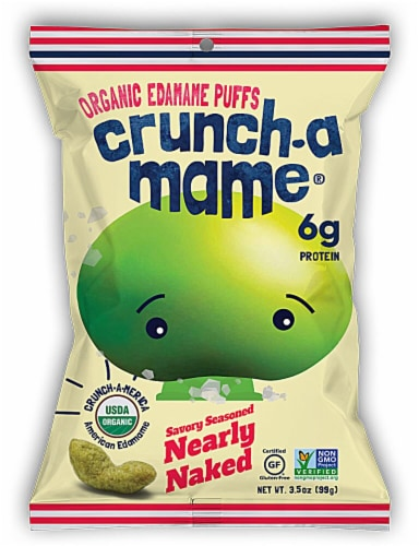 Eda-Zen  Crunch-a-Mame® Organic Edamame Puffs Gluten Free   Savory Seasoned Nearly Naked Perspective: front