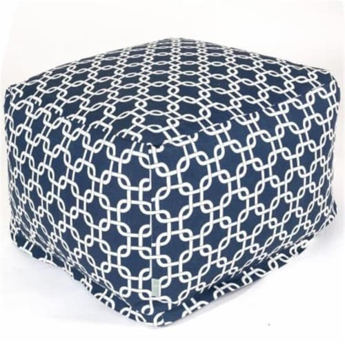 Majestic Home Navy Blue Links Large Ottoman Perspective: front