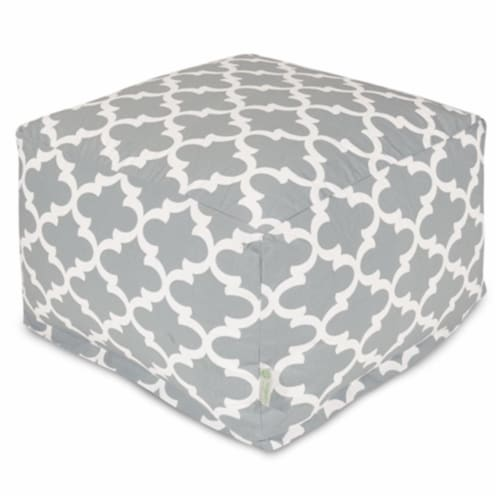 Majestic Home Gray Trellis Large Ottoman Perspective: front