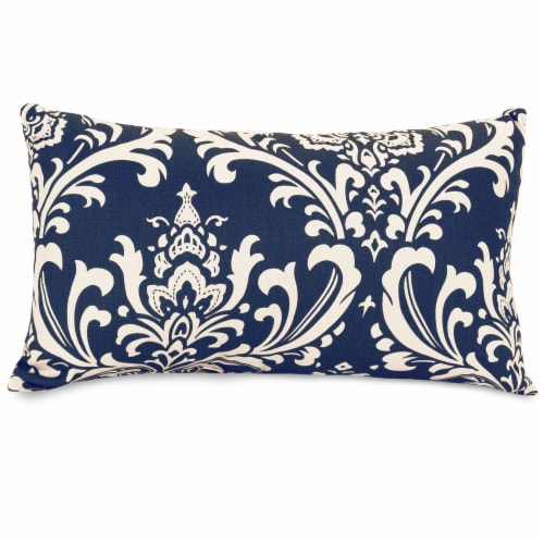 Outdoor Navy Blue French Quarter Small Pillow 12x20 Perspective: front