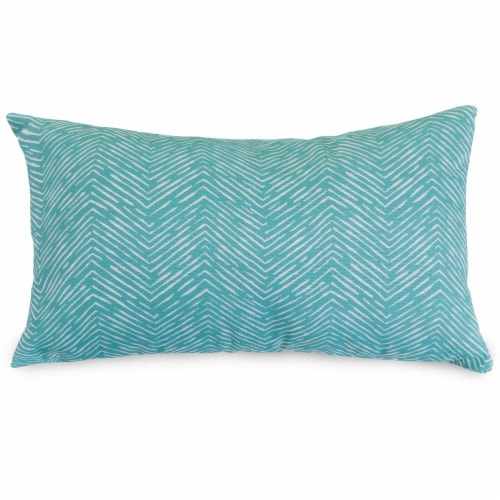 Outdoor Teal Navajo Small Pillow 12x20 Perspective: front