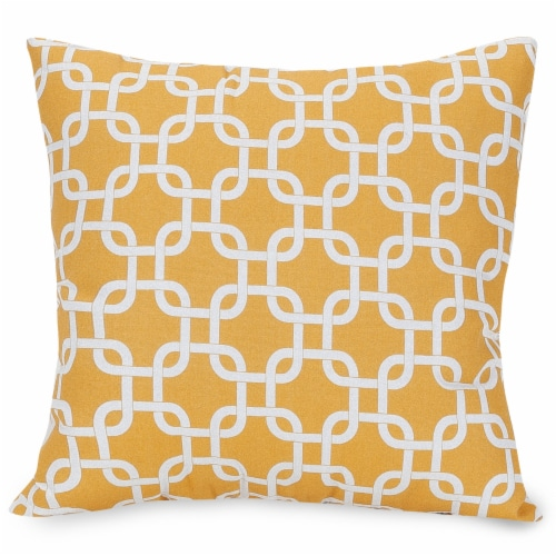 Outdoor Yellow Links Large Pillow 20x20 Perspective: front