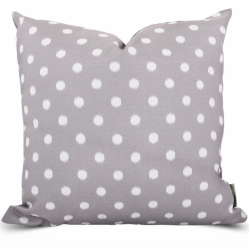 Outdoor Gray Ikat Dot Large Pillow 20x20 Perspective: front