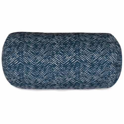 Outdoor Navy Navajo Round Bolster Pillow 18.5x8 Perspective: front