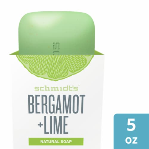 Schmidt's Bergamot & Lime Natural Bar Soap Perspective: front