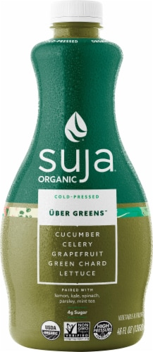 Suja Organic Uber Greens Cold-Pressed Fruit & Vegetable Juice Perspective: front