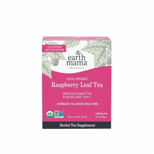 Earth Mama Organics Herbal Labor Tonic & Menstrual Support Raspberry Leaf Tea Perspective: front