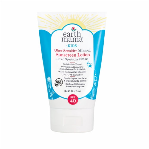 Earth Mama Kids Broad Spectrum Uber-Sensitive Mineral Sunscreen Lotion SPF 40 Perspective: front