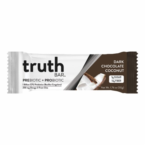 Truth Bar Dark Chocolate Coconut Probiotic Bar Perspective: front