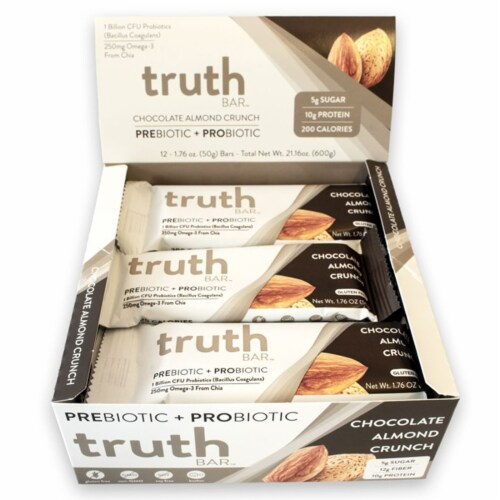 Truth Bar Chocolate Almond Crunch Probiotic Bars 12 Count Perspective: front