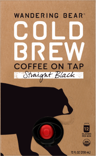 Wandering Bear Fair Trade Certified Organic Straight Black Cold Brew Coffee On Tap Perspective: front