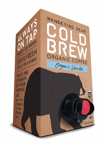 Wandering Bear Cold Brew Organic Vanilla Coffee Perspective: front