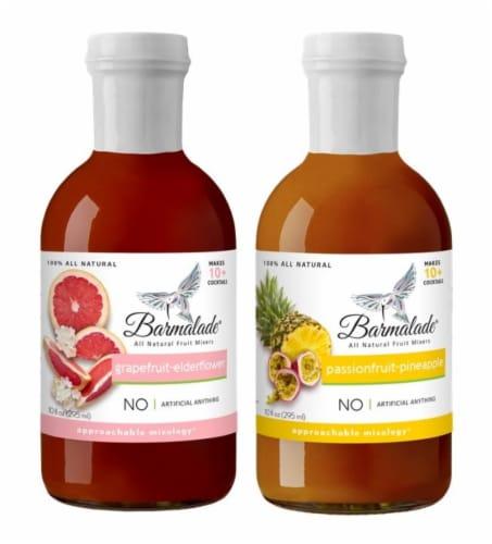 Barmalade Var. Pack Grapefruit-Elderflower & Passionfruit-Pineapple All Natural Fruit Mixers Perspective: front