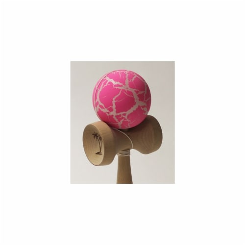 Bahama Kendama BKBCK-PKWH Grand Large Kendama, Crackle, Pink Over White Perspective: front