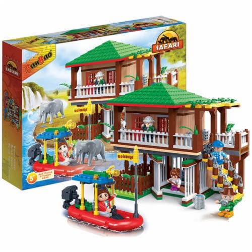 BanBao Interlocking Blocks Safari Tour Building Set (456 Pieces and 5 Mini-Figures) Perspective: front