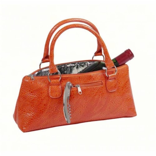 Primeware Orange Serpentes Wine Clutch Perspective: front