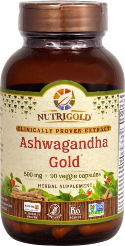 NutriGold Ashwagandha Gold Veggie Capsules 500mg Perspective: front