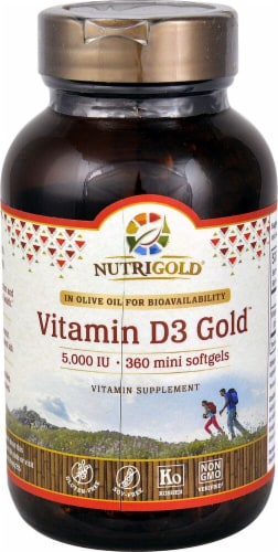 NutriGold Vitamin D3 Gold Softgels  5000IU Perspective: front