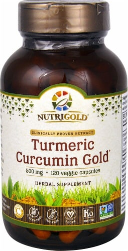 NutriGold Turmeric Curcumin Gold Veggie Capsules 500mg Perspective: front
