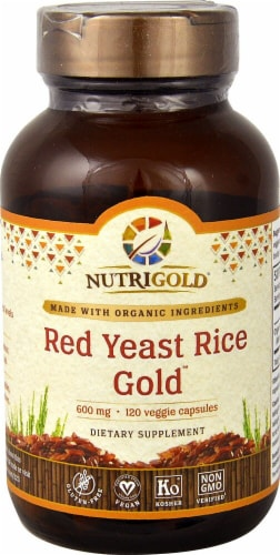 NutriGold Red Yeast Rice Gold Veggie Capsules 600mg Perspective: front