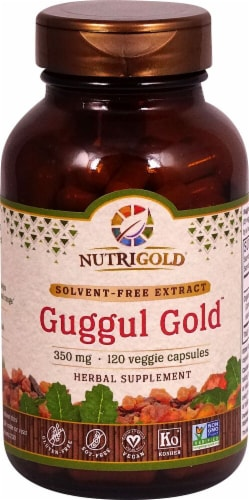 NutriGold Guggul Gold Veggie Capsules 350mg Perspective: front