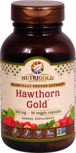 NutriGold Hawthorn Gold Veggie Capsules 300mg Perspective: front