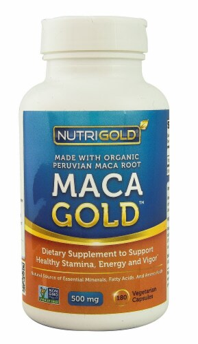 NutriGold Maca Gold Vegetarian Capsules 500mg Perspective: front