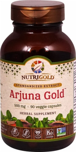 NutriGold Arjuna Gold Veggie Capsules 500mg Perspective: front