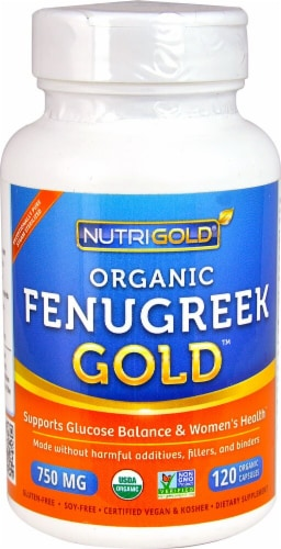 NutriGold Organic Fenugreek Gold Veggie Capsules 750mg Perspective: front