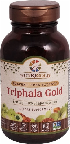 NutriGold Triphala Gold Veggie Capsules 650mg Perspective: front