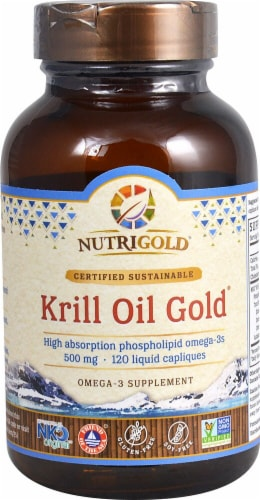 NutriGold Krill Oil Gold Liquid Capliques 500mg Perspective: front