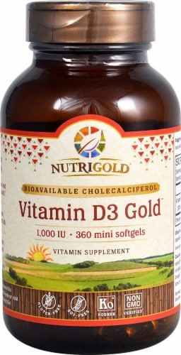 Nutrigold Vitamin D3 Gold Softgels  1000IU Perspective: front