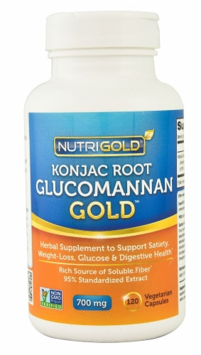 NutriGold Konjac Root Glucomannan Gold Veggie Capsules 700mg Perspective: front