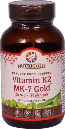 NutriGold  Vitamin K2 MK-7 Gold Softgels 100mcg Perspective: front