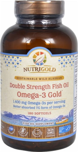 NutriGold  Double Strength Fish Oil Omega-3 Gold Perspective: front